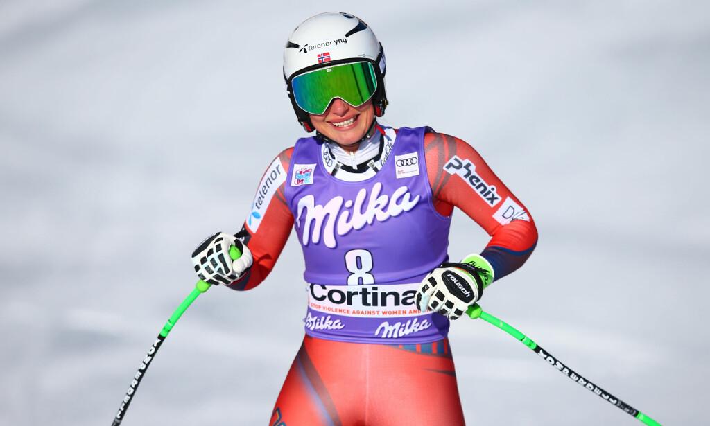 KARRIEREBESTE: Ragnhild Mowinckel kjørte inn til en andreplass i storslalåmrennet i Italia. Foto: GEPA