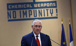 ANKLAGER: USAs utenriksminister Rex Tillerson kom med utfall mot Russland under sin tale i Paris i dag. Foto: Thibault Camus / AP / NTB Scanpix