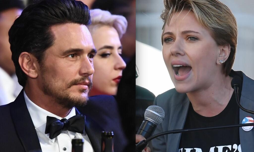 HYKLERSK? Scarlett Johansson angrep James Franco i en tordentale under lørdagens kvinnemarsj i Los Angeles. Nå får hun selv kritikk. Foto: NTB Scanpix