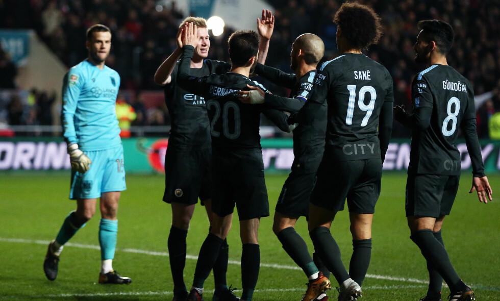 TIL FINALE: Manchester City sikret seg plass i finalen i Carabao Cup med seier over Bristol City. Foto: James Marsh/BPI/REX/Shutterstock/NTB scanpix