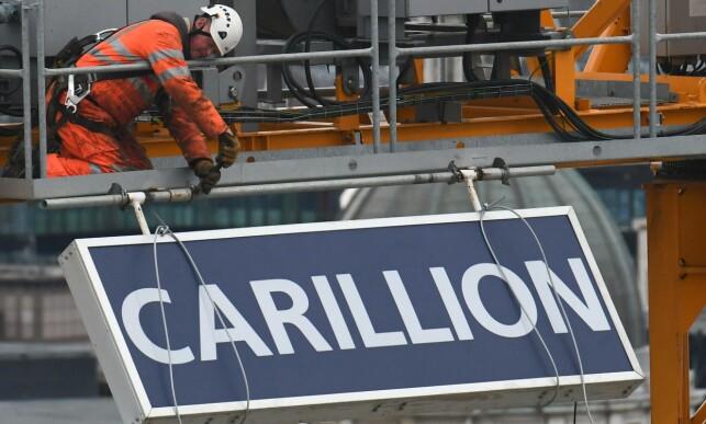 GIKK UNDER: Den britiske byggegiganten Carillion slo seg selv konkurs i forrige uke. På tross av store økonomiske problemer fikk de kort tid i forveien låne 1200 millioner kroner i tyske obligasjoner. Foto: Daniel Sorabji / AFP / NTB Scanpix