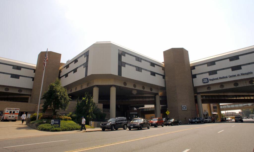 LAGT PÅ OPERASJONSBORDET: Morgan Freeman ble fraktet til dette sykehuset i Memphis som følge av den alvorlige bilulykken. Han lå på operasjonsbordet i fire og en halv time. Foto: AP, NTB scanpix