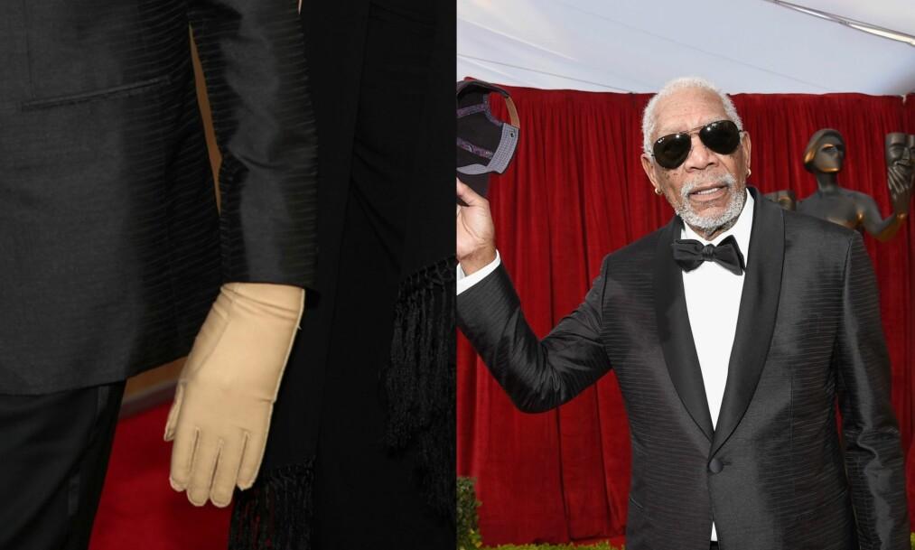 SUBTILT: Morgan Freeman dukket dresskledd opp natt til mandag, da det var duket for SAG Awards i Los Angeles. På sin venstre hånd hadde han derimot en diskré og lysebrun hanske. Den var ikke der helt uten grunn. Foto: NTB scanpix