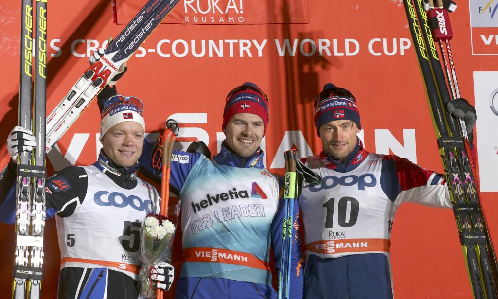 TOPPNIVÅ: Sondre Turvoll Fossli har vist at han på gode dager kan vinne internasjonale skirenn, som her da han som 22-åring vant sprinten i Kuusamo foran Eirik Brandsdal og Petter Northug t.h. Foto: Terje Pedersen / NTB scanpix
