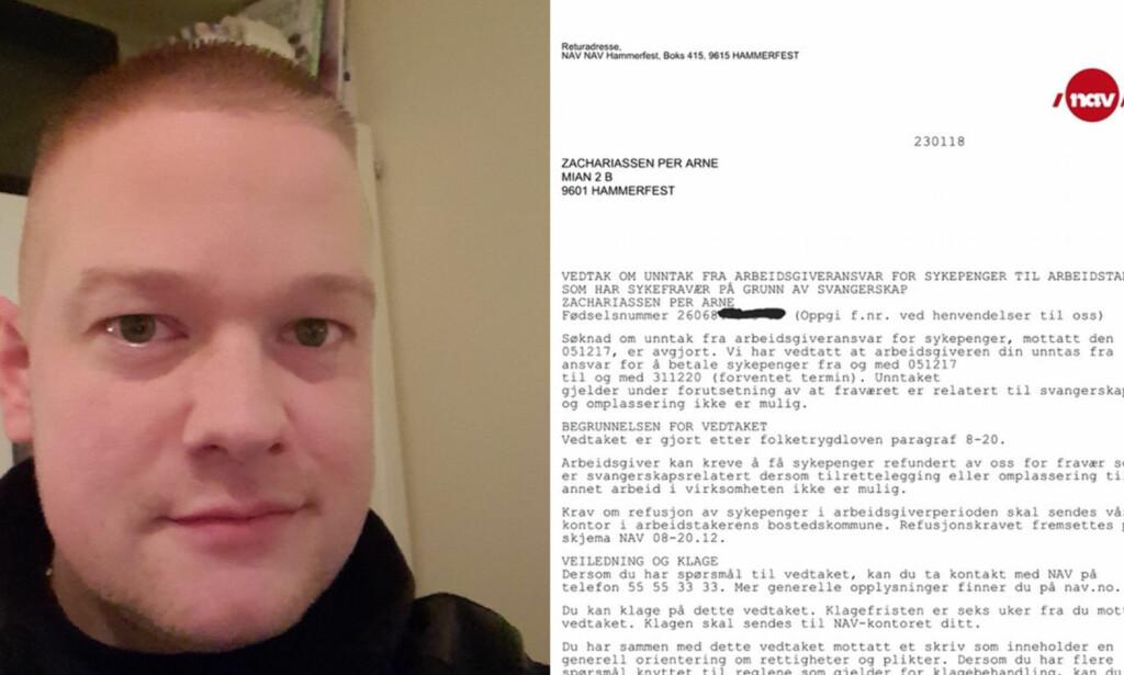 GRAVID: I brevet blir det slått fast at Per Arne Zachariassen har termin 31. desember 2020. Foto: Privat