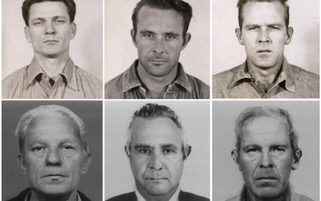 SIMULERT ALDER: Bildene viser f.v. Frank Morris, Clarence Anglin og John Anglin - både slik de så ut da de flyktet i 1962, og hvordan de ville sett ut i dag. Foto: USAs justisdepartement / Reuters / NTB Scanpix