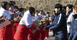 image: Nord-Koreas ishockeyspillere på plass i Sør-Korea