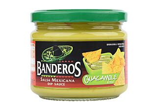 AVOKADOBLØFF: Guacamole med mest vann, fargestoffer - og bare 0,7 % avokadopulver. Foto: Äkta Vara.