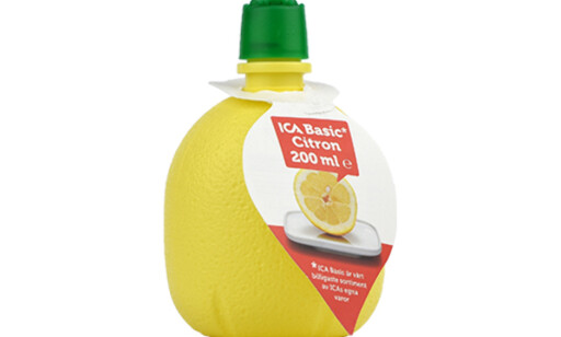 IKKE SITRON: Den ser ut som en plastflaske med ren sitronsaft, men er det ikke. Foto: Äkta Vara