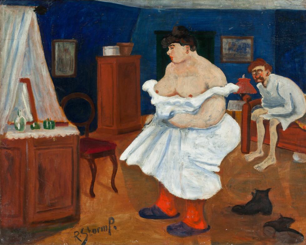 """""""PINSEMORGEN"""" heter dette bildet, malt i 1909. Det blir vist fram på Storm P. museet i forbindelse med utstillingen """"Muser og matroner"""", som åpner denne helgen i København. Copyright: Storm P. Museet"""