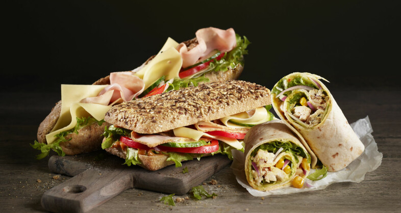 GODE RÅDVARER: Både baguetter, ciabattaer og wraps er tilgjengelig, alle sammen med gode råvarer og smakfullt innhold.