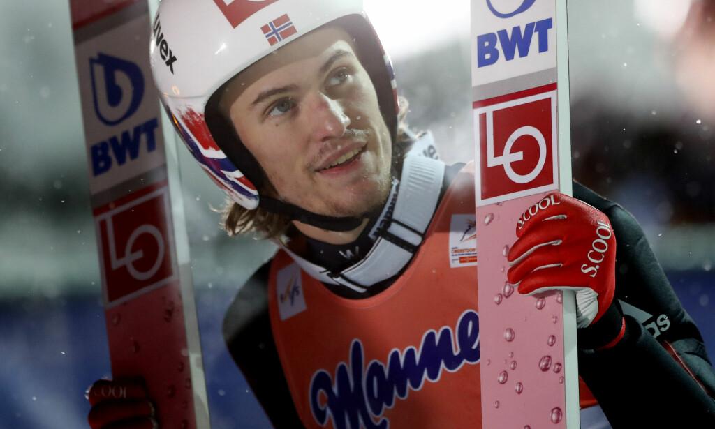 SYK: Daniel-André Tande må stå over verdenscuprennene i Zakopane. Foto: AP Photo/Matthias Schrader
