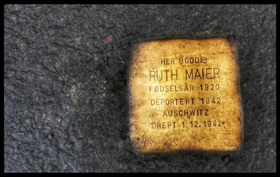 RUTHS: En av de mange snublesteinen i Oslo, Ruth Maier. Foto: Tom Stalsberg