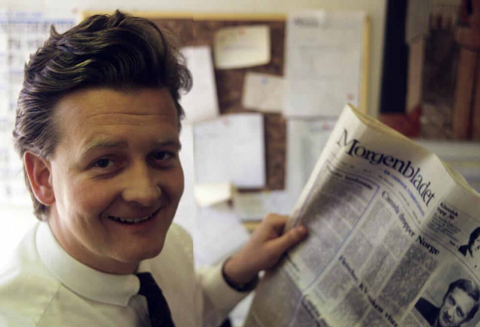 SERIESUKSESS MED BISMAK: Hans Geelmuyden er født i 1957, det er også Dagbladets artikkelforfatter, men der stopper oss all likhet. Bildet er fra 1987 da Hans var sjefen for jålebukkenes fremste avis, Morgenbladet, mens denne patetiske skribent dro til Mellom-Amerika for å redde verden. Foto: NTB Scanpix.