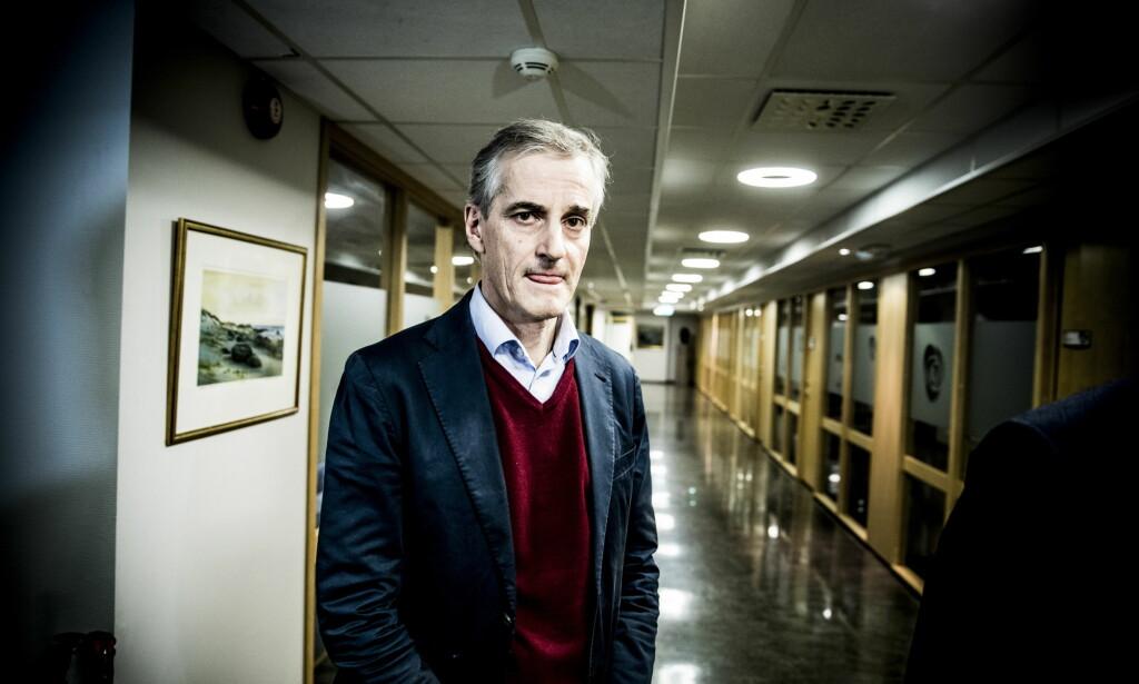 FERDIG: Jonas Gahr Støre møter pressen for å oppdatere om varslersaken mot Trond Giske torsdag ettermiddag. Foto: Christian Roth Christensen / Dagbladet