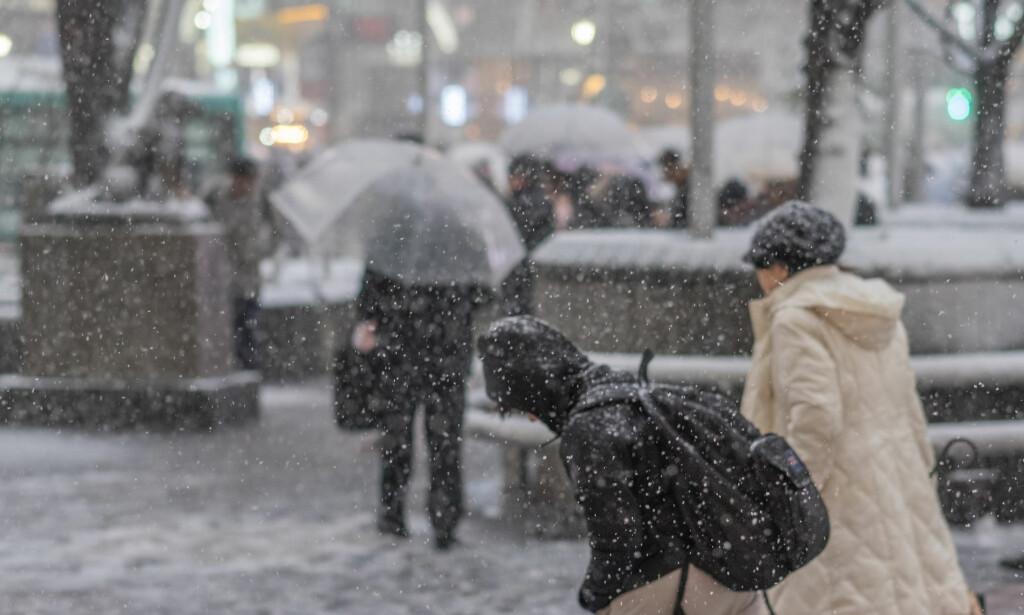 ISKALDT: Onsdag var en kald og snøfylt dag i Tokyo. Det ble også en hektisk dag for byens ambulansepersonell. Foto: Shutterstock
