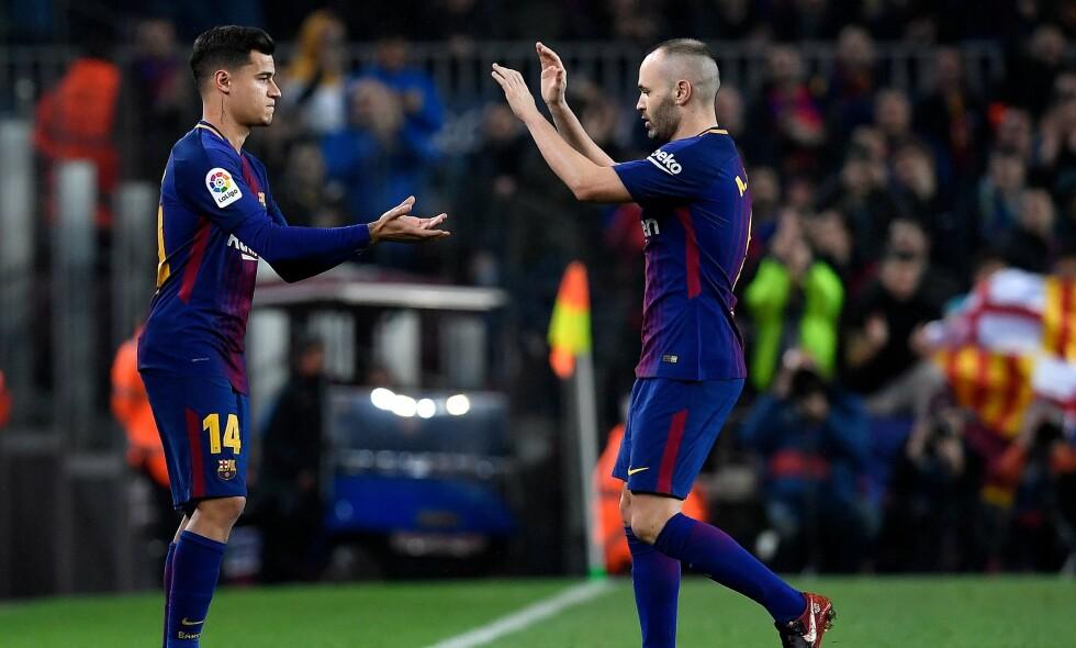 DEBUT: Philippe Coutinho fikk sin Barcelondadebut da han kom inn for Andres Iniesta midtveis i den andre omgangen mot Espanyol. Foto: AFP PHOTO / LLUIS GENE/NTB Scanpix