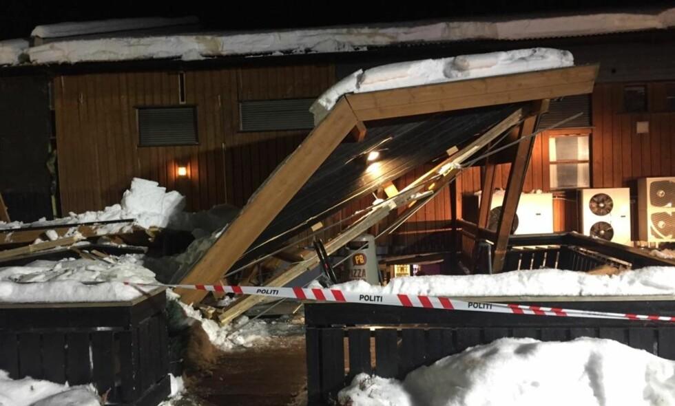 SAMMENRAST: Inngangspartiet på Pizzabakeren i Vågå Handelshus er rast sammen. Foto: Tipser
