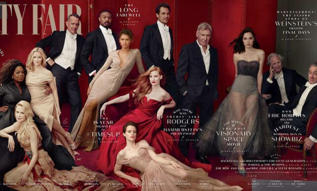 STJERNELAG: Coveret til Vanity Fairs Hollywood-utgave strekker seg rundt hele bladet. Foto: Faksimile av Vanity Fair