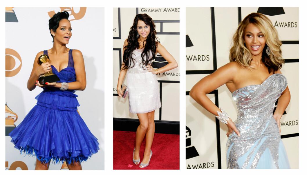 GRAMMY: Slik så Rihanna, Miley Cyrus og Beyoncé ut under Grammy-utdelingen i 2008. Alle tre var til stede under årets Grammy-utdeling 10 år senere. Foto: NTB Scanpix