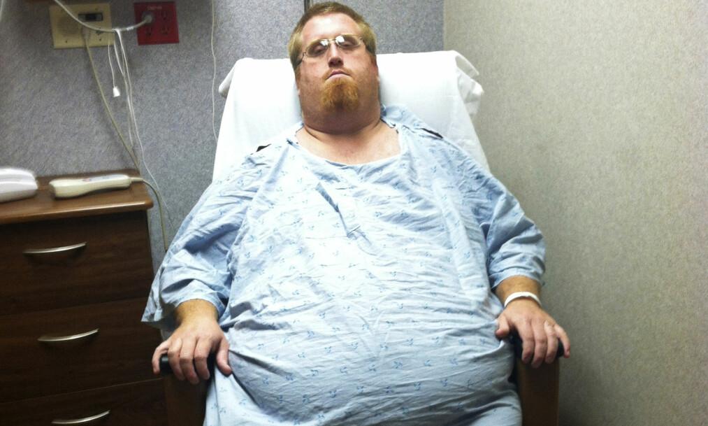 FRYKTET FOR LIVET: Zach Moore veide 236 kilo da han ble innlagt på sykehuset med matforgiftning. Foto: Caters