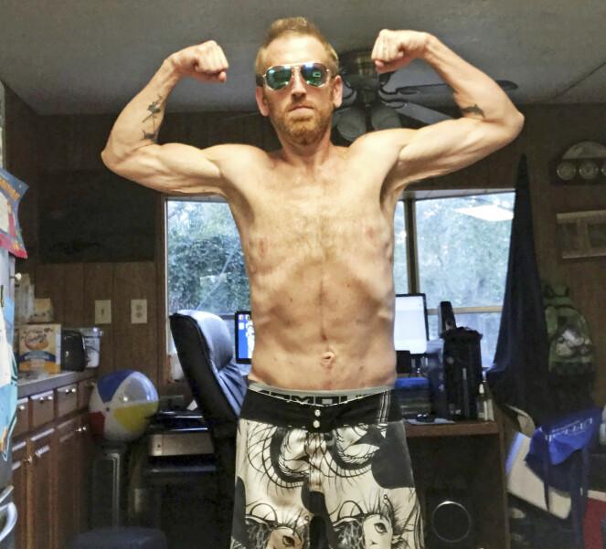 TRENER HARDT: Zach Moore veier 76 kilo etter den dramatiske livsstilsendringen. Foto: Caters