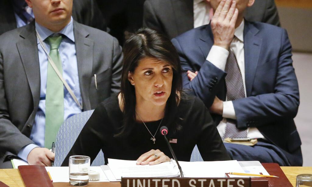 RASER: USAs FN-ambassadør Nikki Haley kaller ryktene om at hun har hatt et kjærlighetsforhold til Donald Trump, svært støtende og motbydelig. Foto: Bebeto Matthews / AP / NTB scanpix