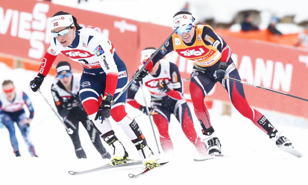 TUNGT I SPORET: Marit Bjørgen, som ble nummer fem, hadde en tung dag i sporet. Heidi Weng kom på andreplass. Foto: Terje Pedersen / NTB scanpix