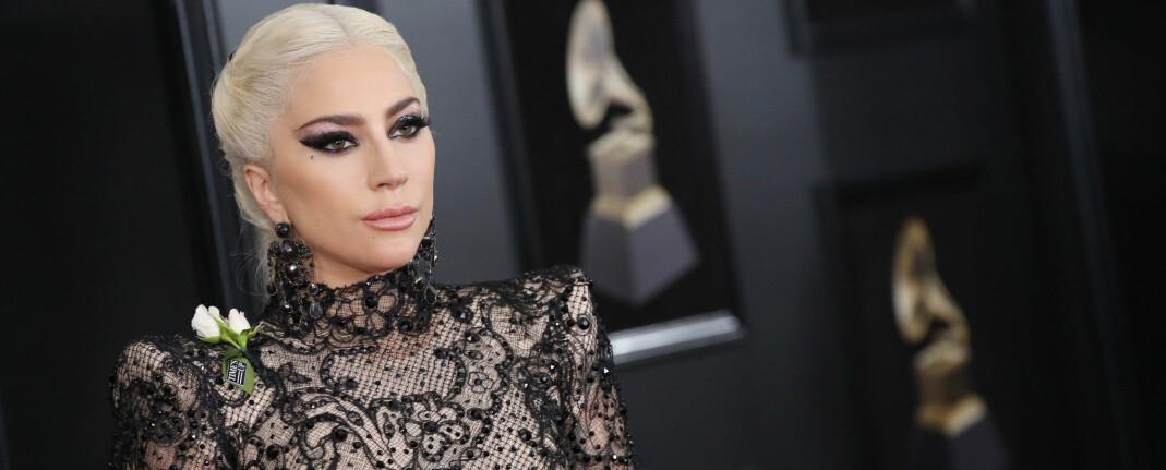 VISTE SIN STØTTE: Lady Gaga var en av stjernene som hadde på seg en hvite rose under årets gjeve Grammy-utdeling. FOTO: Scanpix