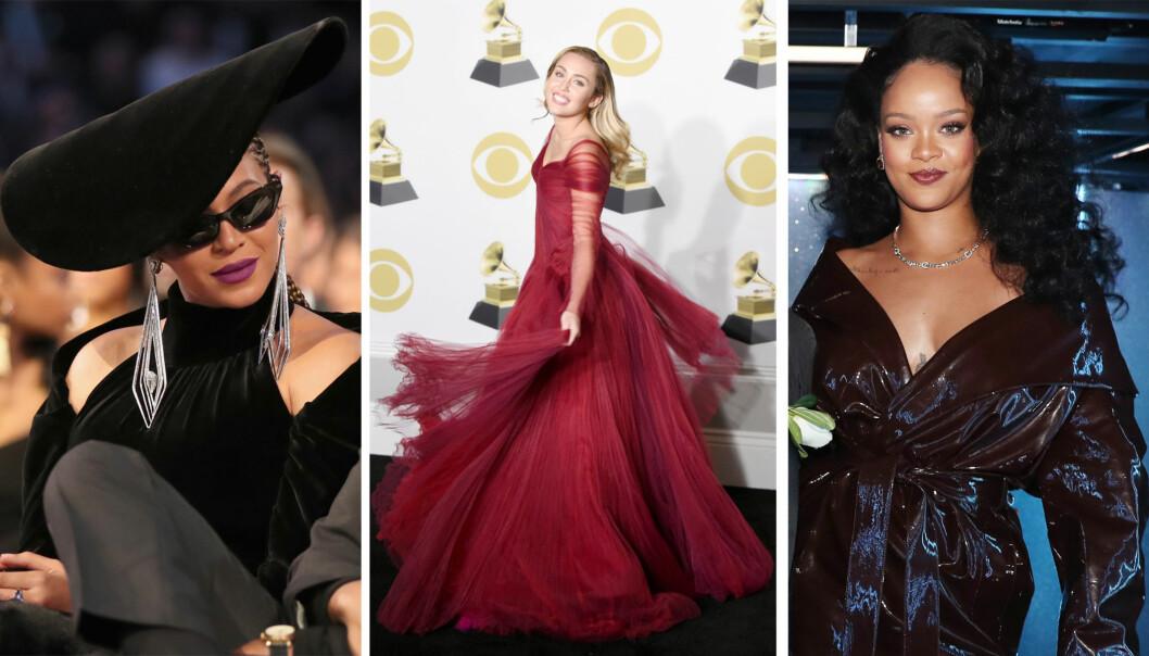 10 ÅR SENERE: Slik så Beyoncé, Miley Cyrus og Rihanna ut under Grammy-utdelingen i januar 2018. Mye er med andre ord skjedd siden de kastet glans over prisutdelingen for 10 år siden! Foto: NTB Scanpix