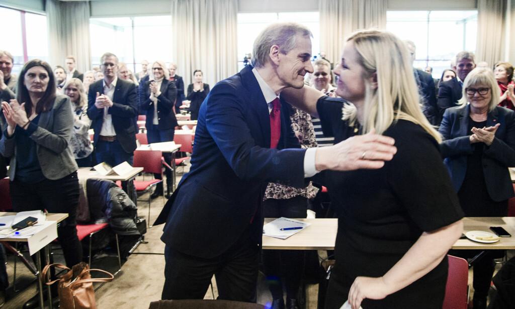 SAMLING: Ap-leder Jonas Gahr Støre og partisekretær Kjersti Stenseng fikk bred støtte i landsstyret for håndteringen av Giske-saken. Foto: Andreas Lekang / Dagbladet