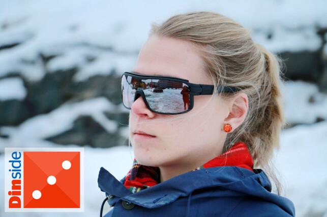 PUSTER IKKE: De dyreste brillene fra Adidas er tunge og tette. Det kommer lett dugg på linsene, både i nedoverbakker og når vi puster. Foto: Ole Petter Baugerød Stokke.