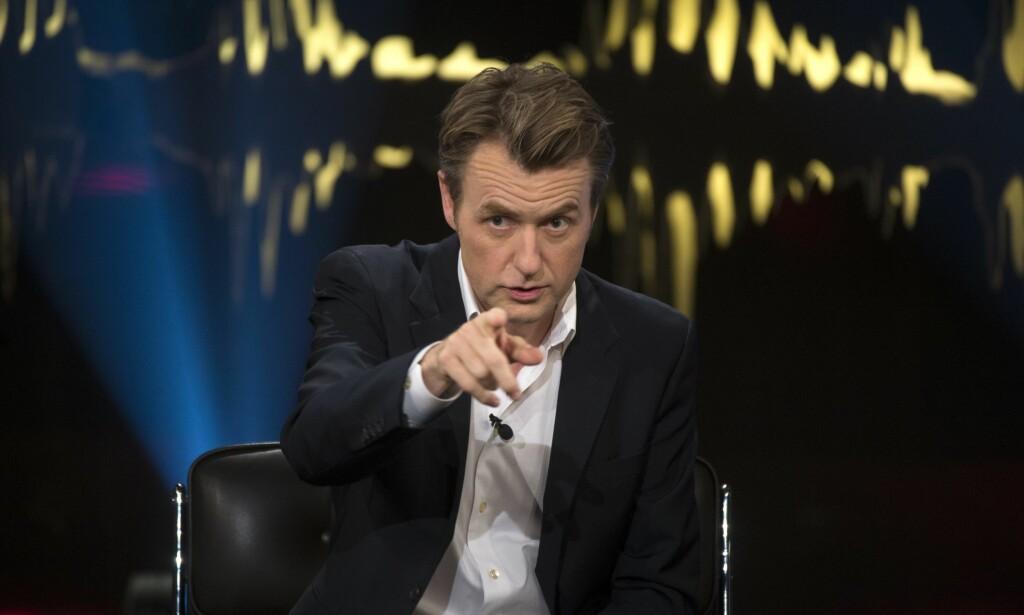 FÅR KRASS KRITIKK: Programleder Fredrik Skavlan får kritikk etter fredagens sending, her fra en tidligere sending. Foto: Fredrik Sandberg / NTB scanpix