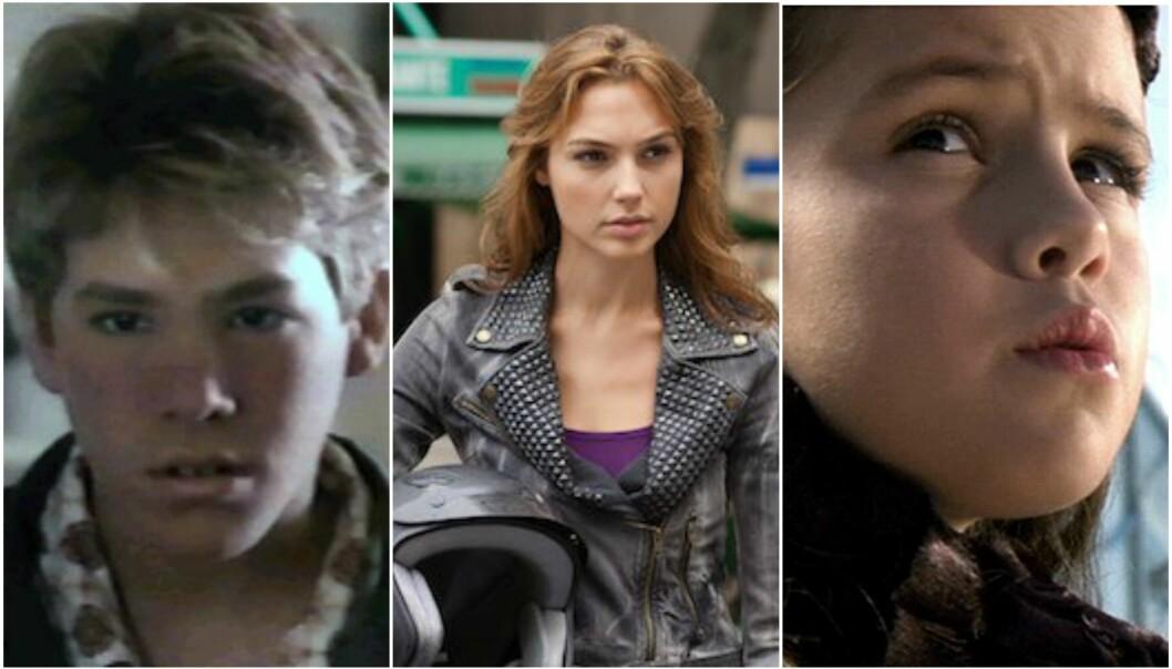 SKUESPILLERE NÅ OG DA: Flere av stjernene var ikke til å kjenne igjen i sine første roller. FOTO: Ordinary Magic, Fast & Furious, Spy Kids 3-D: Game Over