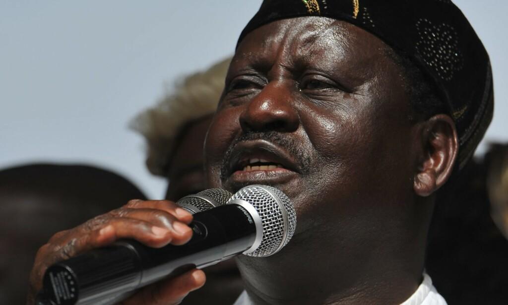 ERKLÆRTE SEG SELV SOM PRESIDENT: NRM-leder Raila Odinga. Foto: AFP PHOTO / TONY KARUMBA / NTB Scanpix