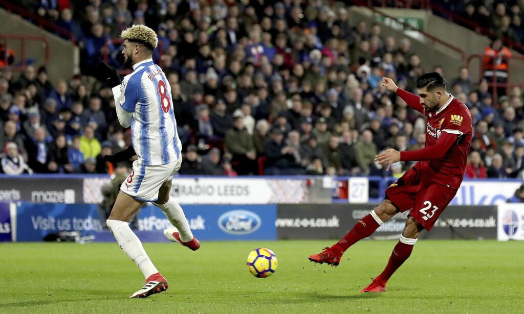 0-1: Liverpools Emre Can setter inn 1-0 fra distanse. Foto: Martin Rickett/PA via AP/NTB Scanpix