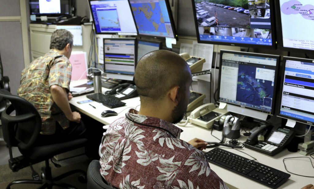 KONTROLLROMMET: Det var fra dette rommet hos beredskapsmyndigheten på Hawaii at meldingen ble sendt ut. Foto: Caleb Jones / AP / NTB Scanpix