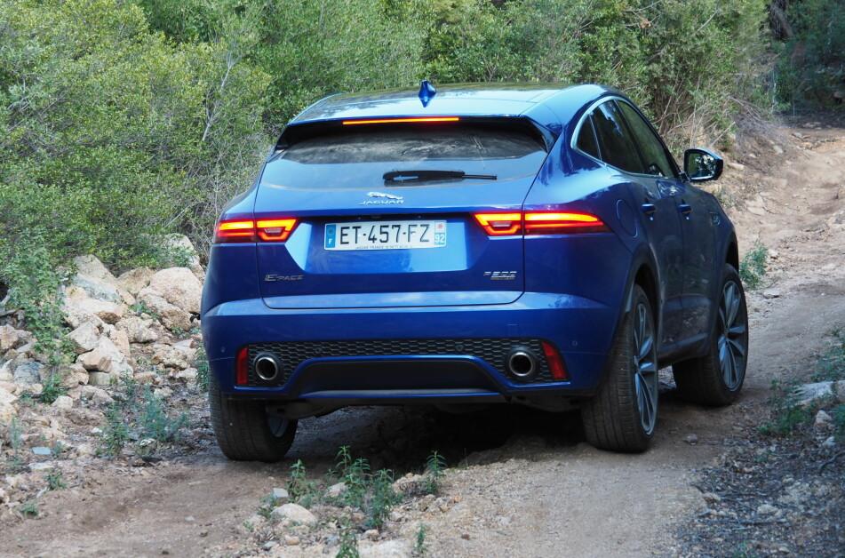<strong>KAN HVIS DU VIL:</strong> 20 cm bakkeklaring, 50 cm vadedybde og kapabel firehjulsdrift gjør Jaguaren potent utenfor veien også. Foto Rune M. Nesheim