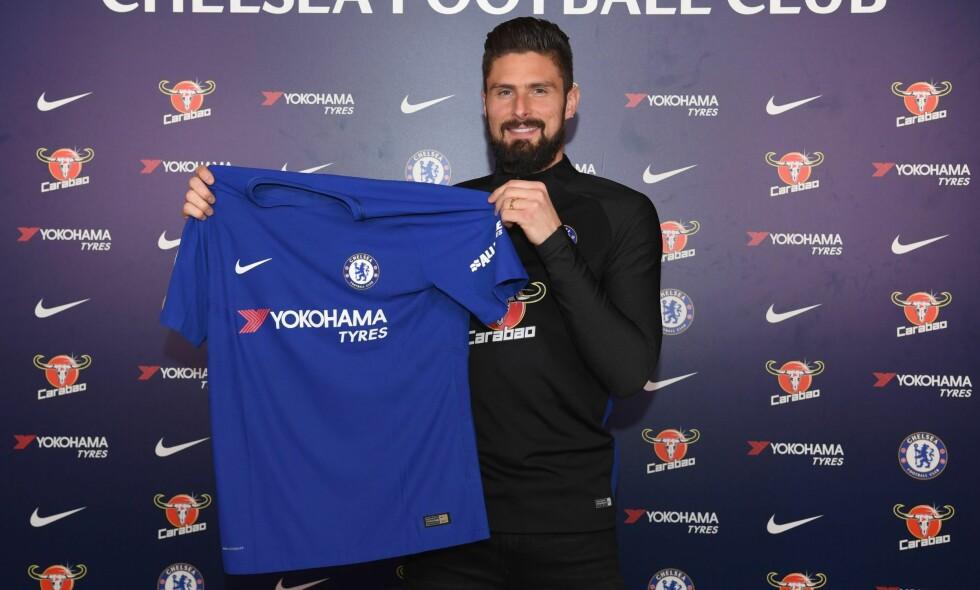 Olivier Giroud forblir i London, men bytter ut Arsenal med Chelsea. Prislappen skal ligger rundt 18 millioner pund. Foto: Chelsea FC