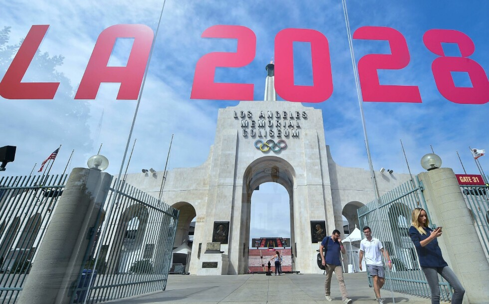 ETTERFORSKER MESTERSKAP: USAs OL-komité og IOC er blant organene som den amerikanske staten ønsker å granske, ifølge New York Times. Her et bilde fra 2017 tatt i den kommende OL-vertskapsbyen Los Angeles. Foto: AFP PHOTO / FREDERIC J. BROWN / NTB Scanpix