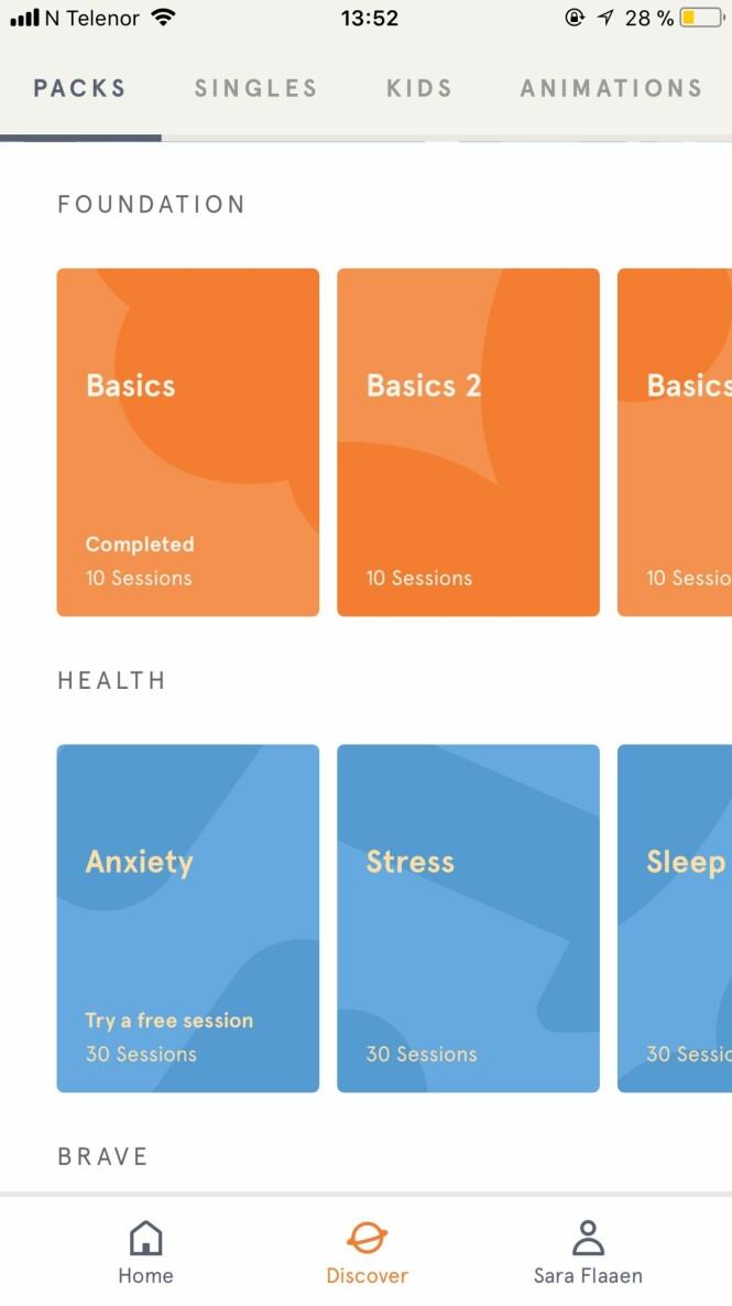 Bruk Headspace for å gi slipp på stress i hverdagen. Foto: Screenshot