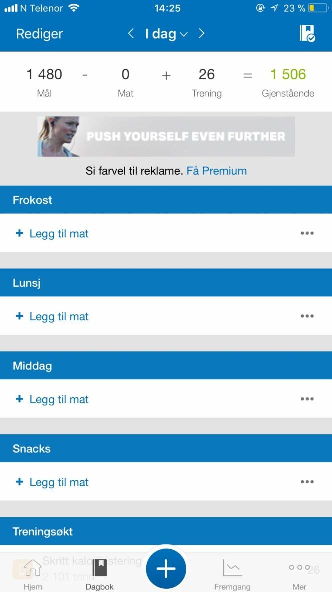 Loggfør mat og trening i MyFitnessPal, og følg med på ernæring og fremgang. Foto: Screenshot