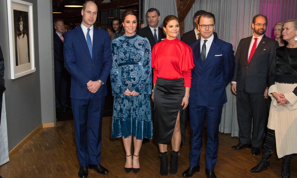 VISTE MAGEN: Prins William og gravide hertuginne Kate sammen med kronprinsesse Victoria og prins Daniel under mottakelsen på Fotografiska onsdag. Foto: NTB scanpix