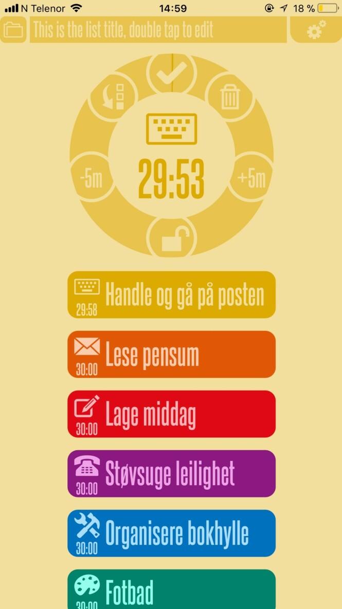 Bruk denne appen for å få ting gjort uten at tiden løper fra deg. Foto: Screenshot