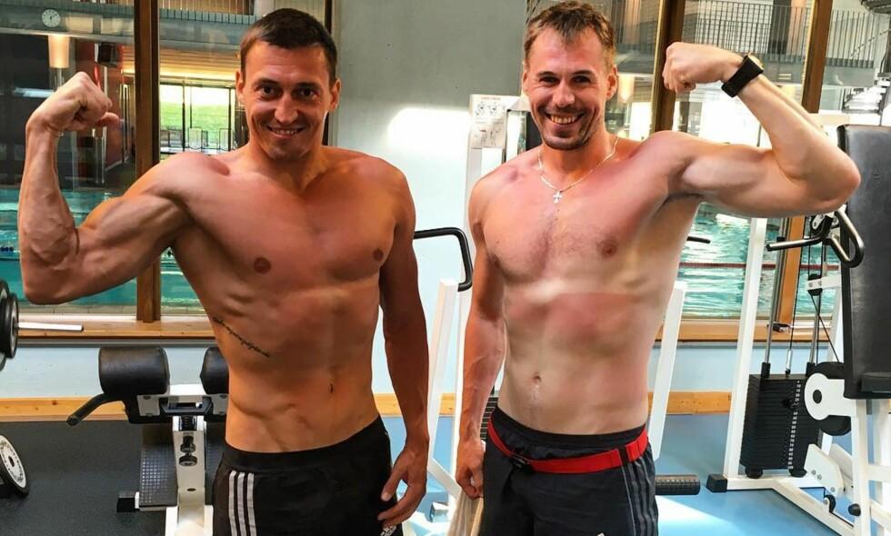 STRÅLER: Aleksander Legov og Sergej Ustjugov virker strålende fornøyd med at CAS har reversert IOCs beslutning. På Instagram poserer de to smilende sammen. Foto: Sergei Usiugov/Instagram