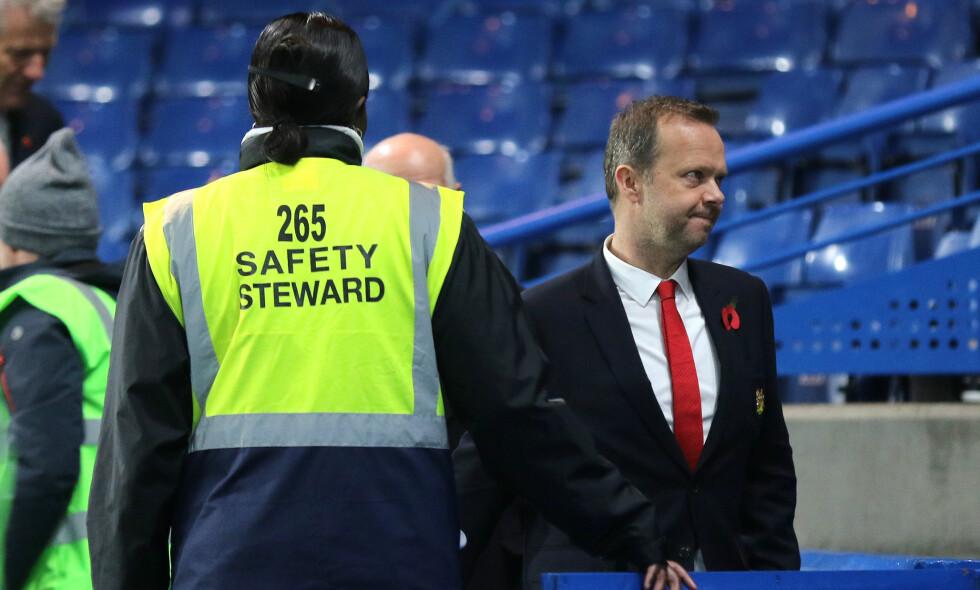 ØKONOMI: Manchester United-direktør, Ed Woodward, har sikret klubben en rekke lukrative avtaler de siste årene og ført United til toppen av pengehierarkiet. Spillerne får heftige lønningen, mens klubbens stadioansatte blir underbetalt. Foto: Tgsphoto/rex/shutterstock