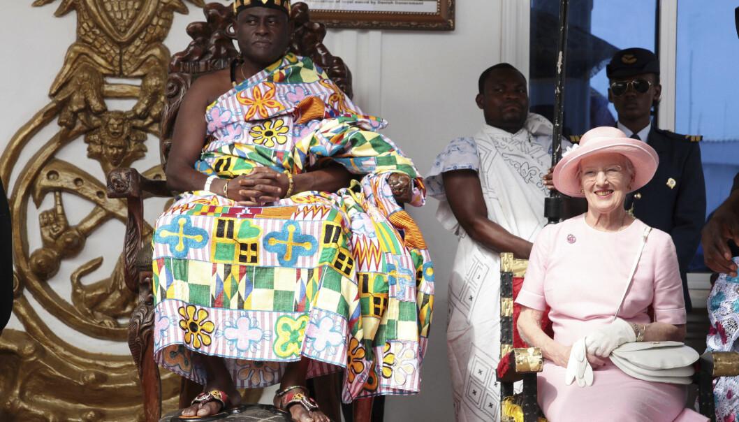 <strong>STASELIG BESØK:</strong> Dronning Margrethe besøkte Ghana i for. Foto: NTB Scanpix