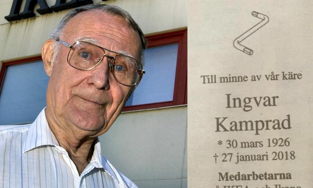 GJORDE INNTRYKK: Så å si alle har et forhold til den svenske møbelkjeden Ikea. Det var avdøde Ingvar Kamprad som i sin tid startet bedriften. I sin dødsannonse valgte kollegene å snike inn en aldri så liten hyllest. Foto: NTB scanpix, Expressen