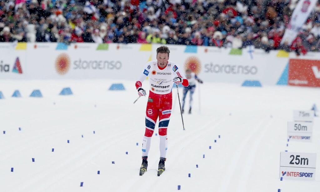 FÅR SIN REVANSJ: Emil Iversen etter at han falt i lagsprinten i Lahti-VM. Får han sjansen til å gå i OL sammen med Johannes Høsflot Klæbo, tror Dagbladet at han vinner gullet. Foto Bjørn Langsem / Dagbladet