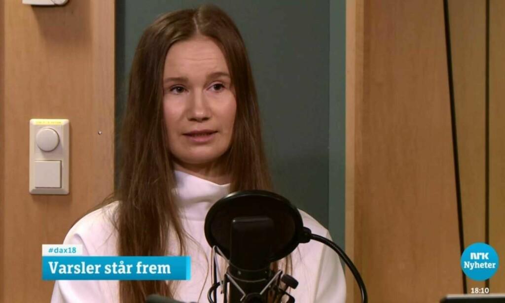 UT MOT GISKE: Det tidligere AUF-medlemmet Sunniva Andreassen. Foto: Skjermdump/NRK